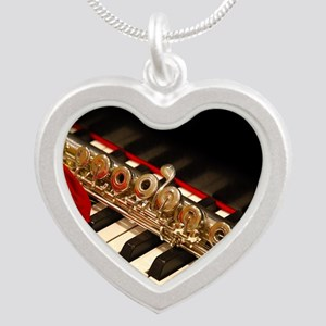 Flute Silver Heart Necklace