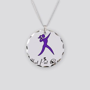 Shot Put Chick Necklace Circle Charm