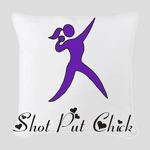 Shot Put Chick Woven Throw Pillow