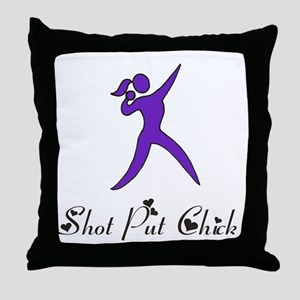 Shot Put Chick Throw Pillow