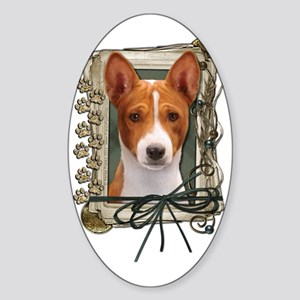 Stone_Paws_Basenji Sticker (Oval)