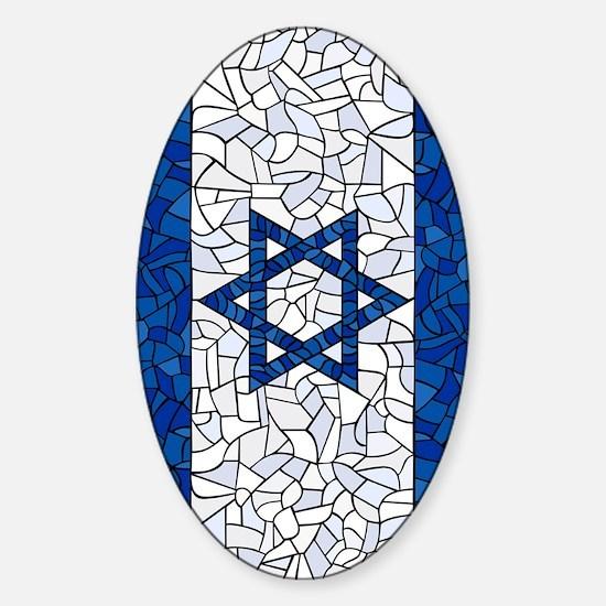 Israel Synagogue Tiffany Sticker (Oval)