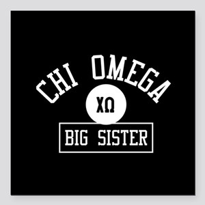 "Chi Omega Big Sister Ath Square Car Magnet 3"" x 3"""