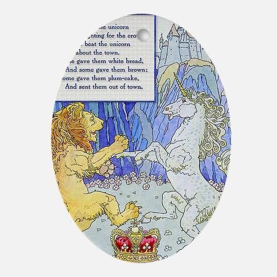 MagnetRect-LionUnicornL Oval Ornament