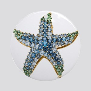 Blue Starfish Vintage Costume Jewel Round Ornament