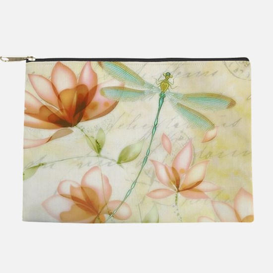 Pink flowers and dragonfly Makeup Pouch