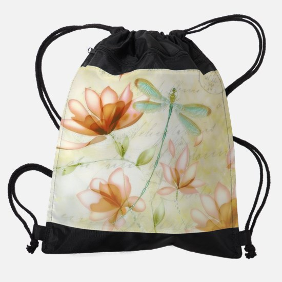 Pink flowers and dragonfly Drawstring Bag