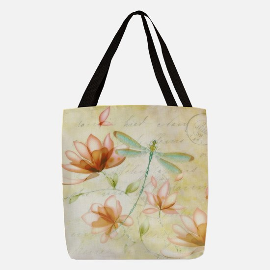 Pink flowers and dragonfly Polyester Tote Bag