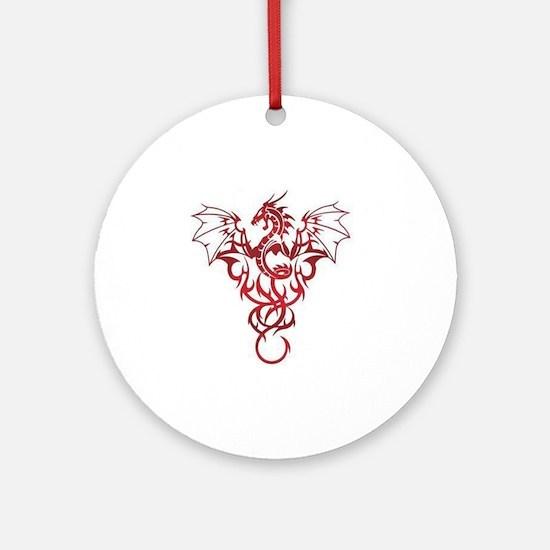 Dragon-Tribal-Tattoo222 Round Ornament