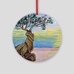 Divi Divi Tree Sunset Round Ornament