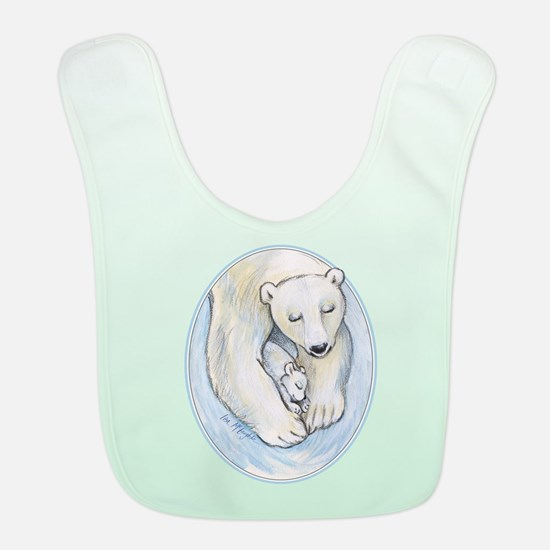 Mom And Baby Polar Bears Napping Bib