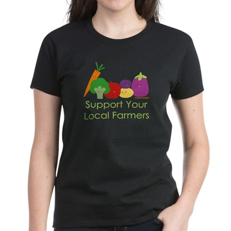 """Support Your Local Farmers"" Women's Dark T-Shirt"