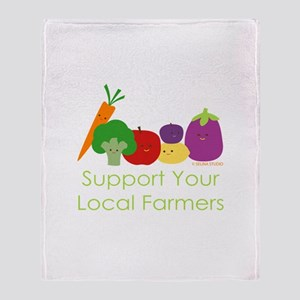 """""""Support Your Local Farmers"""" Throw Blanket"""