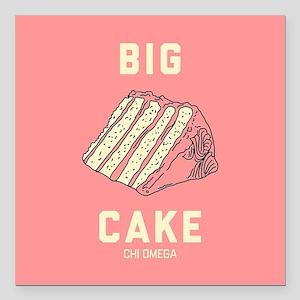 "Chi Omega Big Cake Square Car Magnet 3"" x 3"""