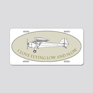 low and slow in oval Aluminum License Plate