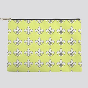 Yellow and white fleur de lis Makeup Pouch