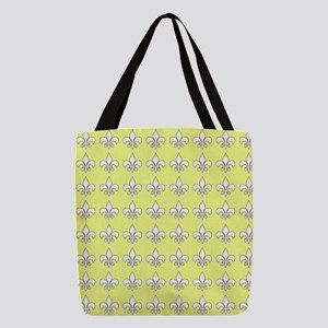 Yellow and white fleur de lis Polyester Tote Bag