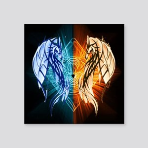 """Dragons - Fire And Ice Square Sticker 3"""" x 3"""""""