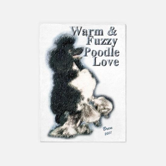 Warm Fuzzy Poodle Love 5'x7'Area Rug