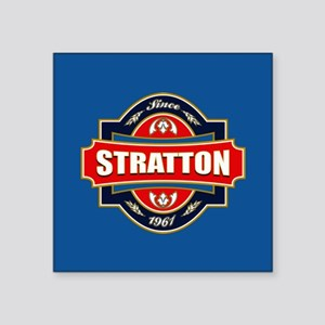 "Stratton Old Label Square Sticker 3"" x 3"""