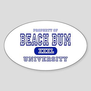 Beach Bum University Oval Sticker