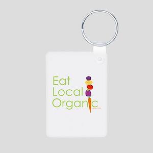 """Eat Local Organic"" Aluminum Photo Keychain"