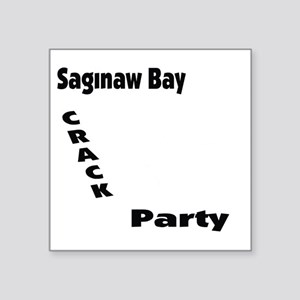 "crackpartywhite Square Sticker 3"" x 3"""