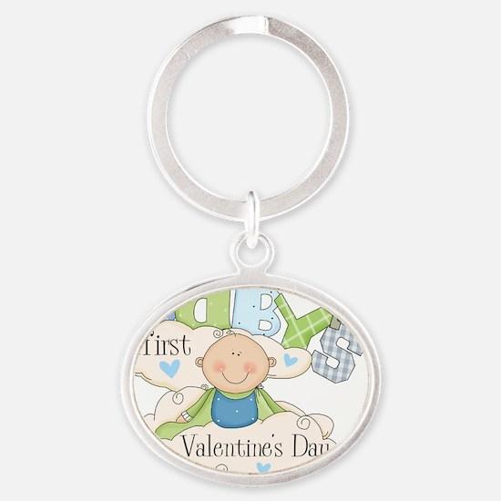 babys first valentine boy Oval Keychain