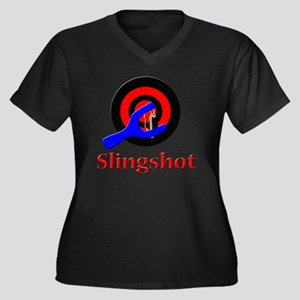 slingshots Women's Plus Size Dark V-Neck T-Shirt