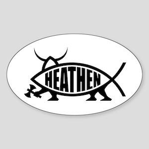 Heathen Fish Oval Sticker