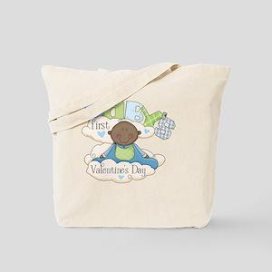 babys first valentine black boy  Tote Bag
