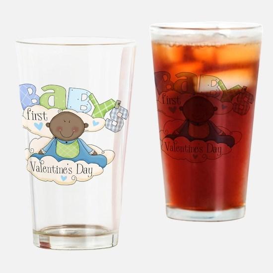 babys first valentine black boy  Drinking Glass