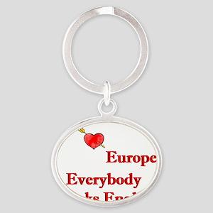 I love europe Oval Keychain