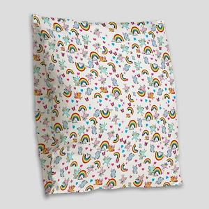 Pegacorn Love Burlap Throw Pillow
