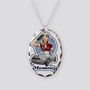 PinUp Driver Black Necklace Oval Charm