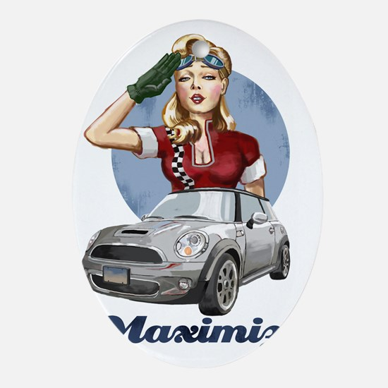 PinUp Driver White Cafe Oval Ornament