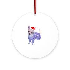 Chihuahua in santa hat Ornament (Round)