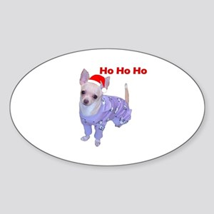 Chihuahua in Santa Hat (ho ho ho) Oval Sticker