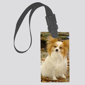 sitting papillon Large Luggage Tag