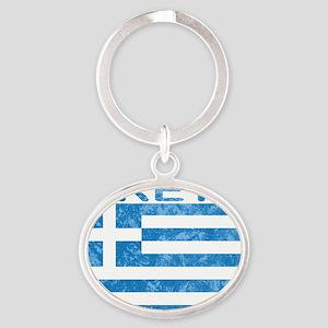 crete_flag_t_shirt Oval Keychain