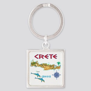 crete_t_Shirt_maP Square Keychain