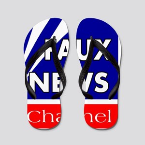 faux news channel white Flip Flops