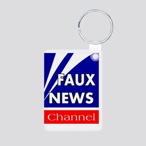 faux news channel white Aluminum Photo Keychain