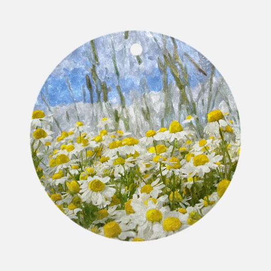 Painted Wild Daisies Round Ornament