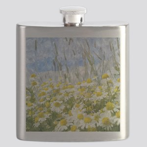 Painted Wild Daisies Flask