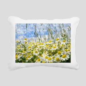 Painted Wild Daisies Rectangular Canvas Pillow