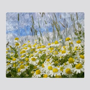 Painted Wild Daisies Throw Blanket