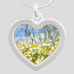 Painted Wild Daisies Silver Heart Necklace