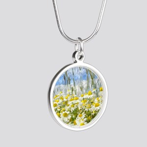 Painted Wild Daisies Silver Round Necklace