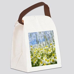 Painted Wild Daisies Canvas Lunch Bag